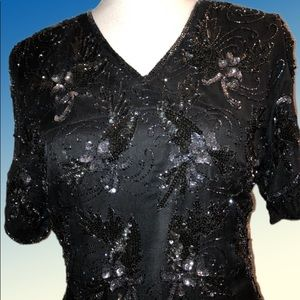 Black beaded and sequin top fully lined in silk
